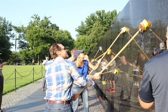 Cleaning Vietnam Memorial
